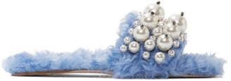 Miu Miu Blue Eco Shearling Pearl Slides