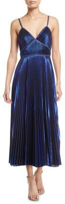 Marchesa Pleated Sleeveless Tea-Length Dress
