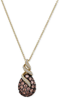 LeVian Le Vian Chocolatier Chocolate Diamonds Pendant Necklace (1-1/8 ct. t.w.) in 14k Gold