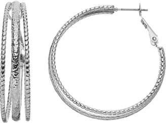 JLO by Jennifer Lopez Textured Triple Hoop Earrings