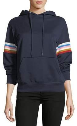 ALEXACHUNG Alexa Chung Drawstring Fleece Hoodie with Multicolor Rib-Insert