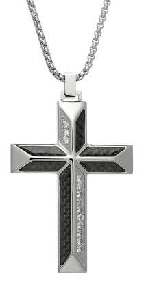 clear FINE JEWELRY Mens Cubic Zirconia Stainless Steel Cross Pendant Necklace