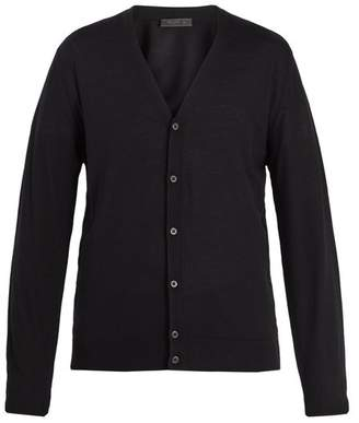 Prada Long Sleeved Button Front Wool Cardigan - Mens - Black