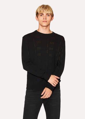 Paul Smith Men's Black Multi-Coloured Stitch Detail Sweater
