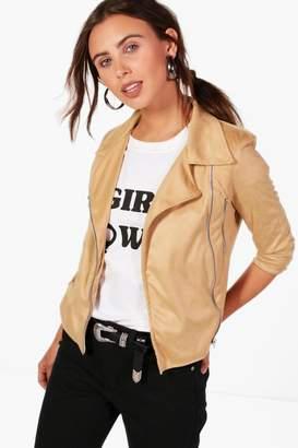 89ad6416c6ab4 boohoo Petite Sasha Suedette Zip Detail Biker Jacket