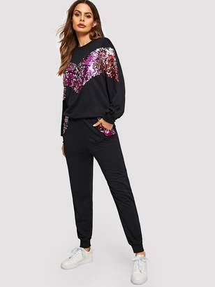 Shein Contrast Sequin Chevron Pullover & Pants Set