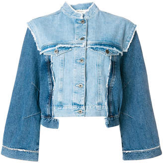 Semi-Couture Semicouture distressed panelled denim jacket