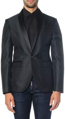 DSQUARED2 Black All Over Circular Woven Pattern Jacket