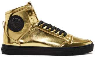 Versace Gold Medusa High-Top Sneakers