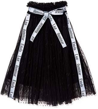 Snidel (スナイデル) - [スナイデル] GIRLロゴ刺繍チュールスカートSKFS185133 SKFS185133 ガールズ BLK 日本 120 (日本サイズ120 相当)
