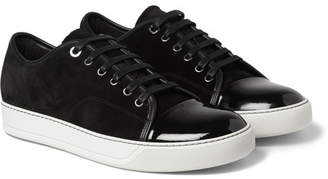 Lanvin Cap-Toe Suede and Patent-Leather Sneakers - Black