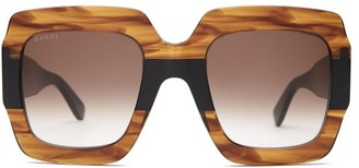 Gucci Gg Square Marbled Acetate Sunglasses - Womens - Brown