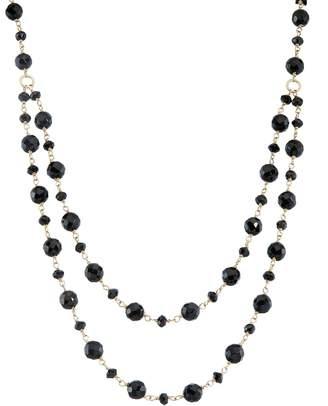 Kohl's 14k Gold Onyx & Black Spinel Swag Necklace