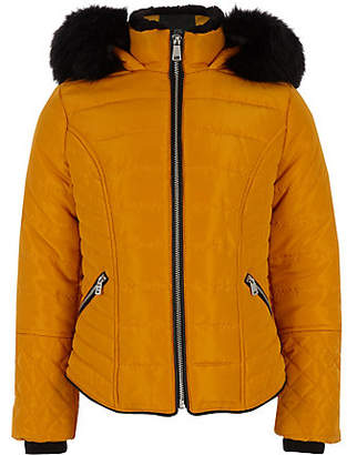 River Island Girls yellow faux fur trim padded coat