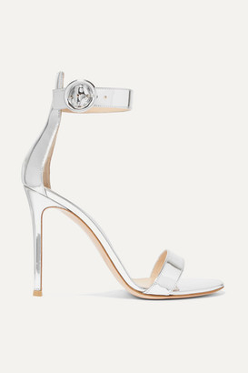 2c7d45734 Gianvito Rossi Portofino 105 Metallic Leather Sandals - Silver