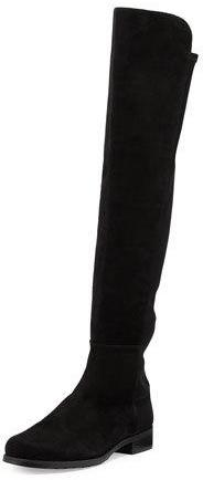 Stuart Weitzman 50/50 Suede Stretch Over-The-Knee Boot, Black