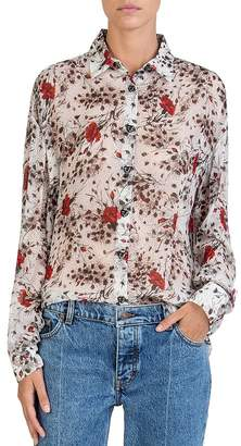 The Kooples Silk Flying Flowers Printed Shirt