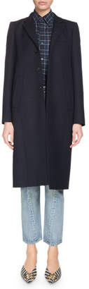 Balenciaga Single-Breasted Three-Button Knee-Length Wool Coat