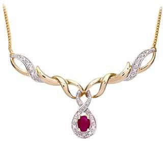 Naava Women's Prong Set Herringbone Chain of 46 cm Length, 0.04 ct Diamond Weight, Diamond and Ruby 9 ct Yellow Gold Necklace