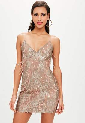 Missguided Gold Feather and Sequin Shift Dress