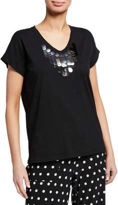 Donna Karan Casual T-Shirt w\/ Sequin V-Neck Detail
