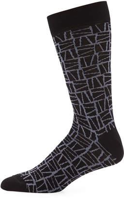 Jared Lang Men's Striped Cotton Socks, Black/Gray