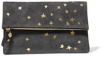 Clare V - Margot Metallic Printed Suede Clutch - Anthracite $235 thestylecure.com