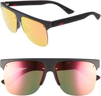 Gucci 60mm Semi Rimless Polarized Sunglasses