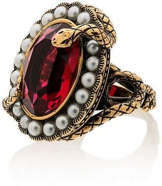 Alexander McQueen metallic snake jewel faux pearl ring