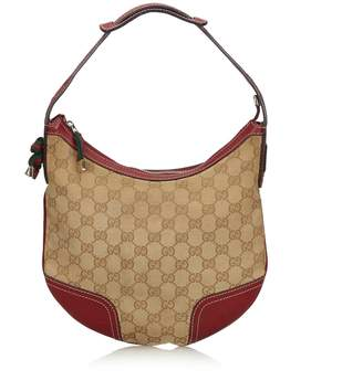 Gucci Pre-Loved Brown Beige Canvas Fabric GG Web Princy Shoulder Bag Italy