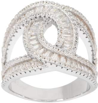 Diamonique Baguette Loop Ring, Sterling