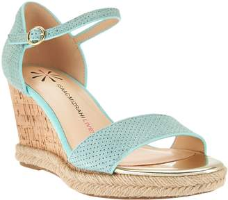 Isaac Mizrahi Live! Cork Wedge Suede Sandals