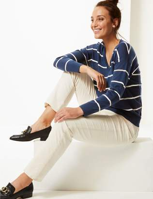 Marks and Spencer Pure Merino Wool Striped V-Neck Jumper