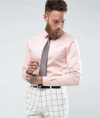 Asos Wedding Skinny Sateen Shirt In Pink With Charcoal Tie Save