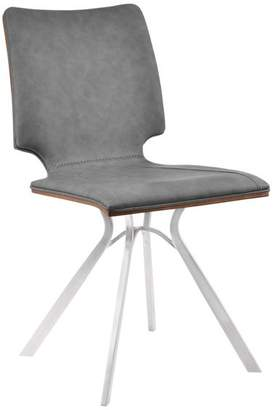 Dwellist Cyrus Dining Chairs, Brushed Stainless Steel, Gray/Walnut Wood Back