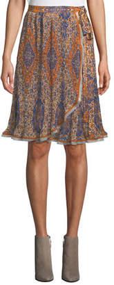 Tory Burch Graphic-Print Chiffon Wrap Skirt