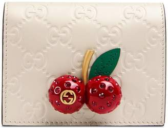 Gucci Signature card case wallet with cherries
