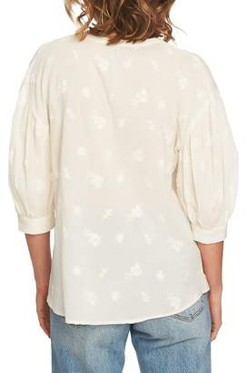 1 STATE 1.State Embroidered Henley Blouse