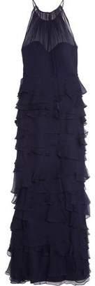 Badgley Mischka Tiered Ruffled Plissé-Silk Gown