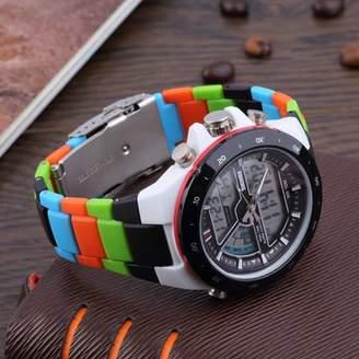 Hanyulore Men's Dual Time Zones Analog digita l Waterproof Luminous Wrist Watch