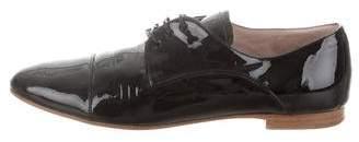 Miu Miu Patent Leather Round-Toe Oxfords