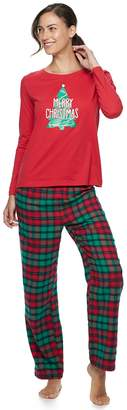 Women's Jammies For Your Families Red Plaid Merry Christmas Family Tee & Pants Pajama Set
