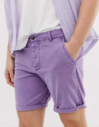 Asos Design DESIGN slim chino shorts in washed lilac
