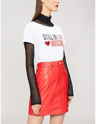 Love Moschino Embellished logo-print cotton-blend T-shirt