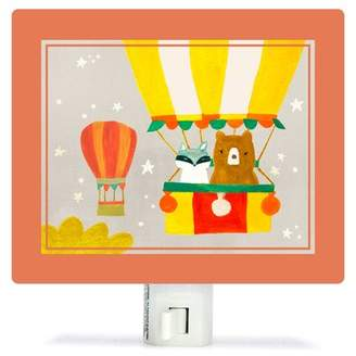 Oopsy Daisy Fine Art For Kids Bear and Raccoon Balloon Ride by Irene Chan Canvas Night Light
