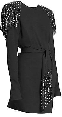 Saint Laurent Women's Studded Epaulette Mini Dress