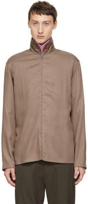 Lemaire Brown Zippered Shirt