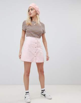 Glamorous a-line core mini skirt with button front