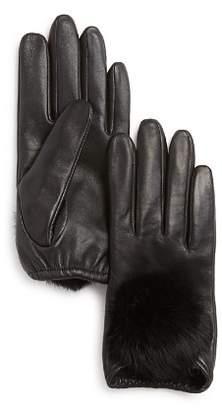 Aqua Rabbit Fur Pom-Pom Leather Tech Gloves - 100% Exclusive