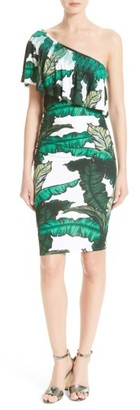 Women's Tracy Reese Print Jersey One-Shoulder Flounce Dress $298 thestylecure.com